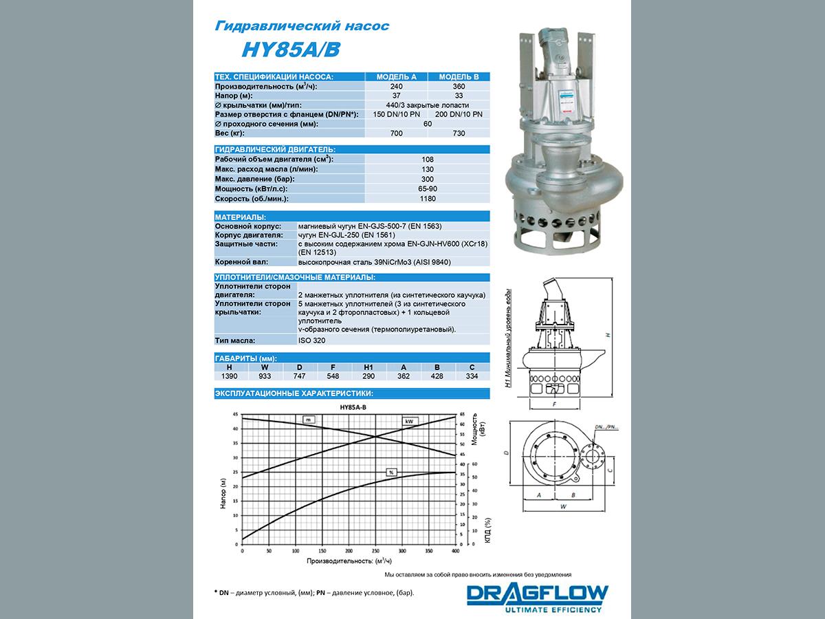 Погружной грунтовый шламовый насос DRAGFLOW HY85B + 2EXHY20 c гидравлическим приводом