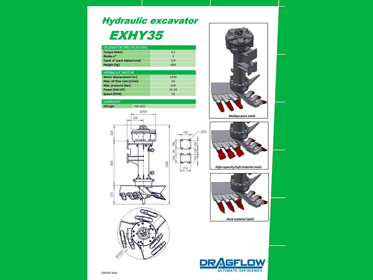 Погружной грунтовый шламовый насос DRAGFLOW HY400HC + 2EXHY35 c гидравлическим приводом